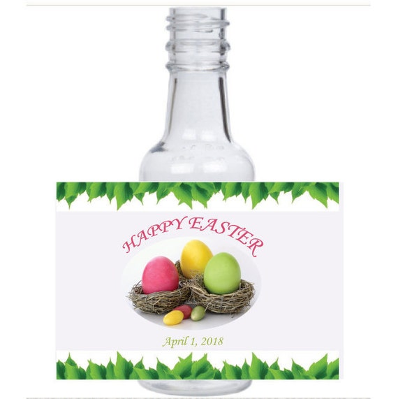 12 personalized Easter egg hunt mini liquor bottles, caps, and labels for your Easter bunny holiday event or Easter basket
