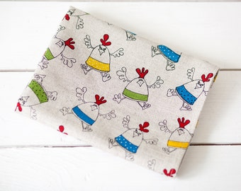 Easter towels - Funny kitchen towels - Easter kitchen decor - Linen kitchen towel with  colored chickens - Dish towels with chicks