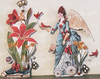 Digital Angel Paper Doll INSTANT DOWNLOAD Vintage Style 3D Greeting Card - Vintage Angel, Amaryllis, Cherub, Cardinal XP11PD