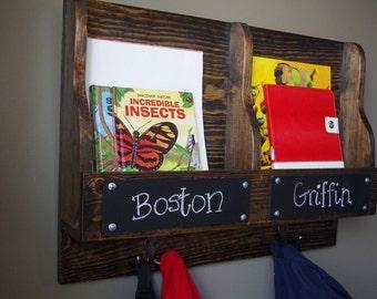 Backpack Station - Book Keeper - Chalkboard Name Plate - 2 Hooks Hanger