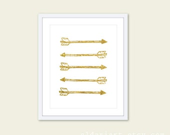 Gold Arrows Art Print - Southwest Wall Art - Home Decor - Faux Gold Foil - Tribal -Under 20