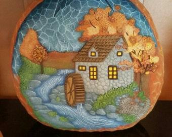 Pumpkin with fall scenery