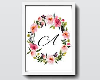Monogram Alphabet Letters 'A-Z' Floral Wreath Artwork Printable 8x10