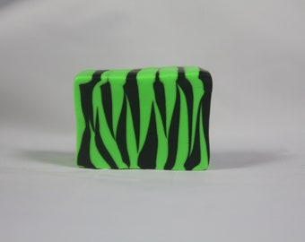 Polymer Clay Handmade Raw Cane- Zebra/Tiger Stripes-Black/Green