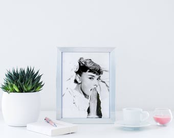 Audrey Hepburn, Hollywood Icons, Black and White, Collage, Waterfall, Contemporary, Beautiful, Print, Digital Art, Poster, Home, Torn Paper