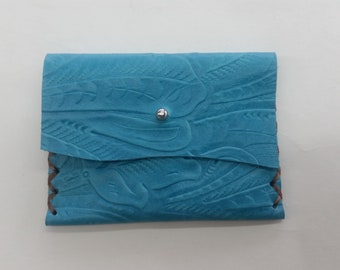 Turquoise Leather Biz Card Wallet, Western Business Card Wallet, Leather Turquoise Wallet