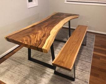 SOLD**  Acacia live edge dinner table and matching bench  **SOLD**