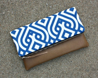 Blue and White Geometric Foldover Clutch / Kindle Case