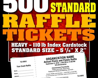 500 Standard Raffle Tickets, Customised, Perforated and Numbered
