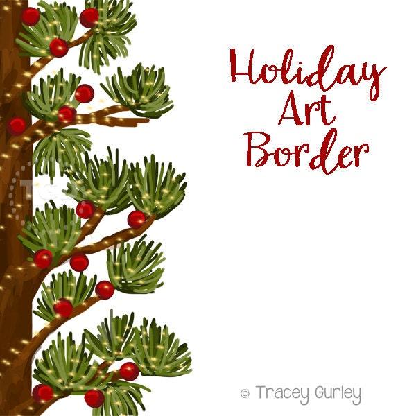 Holiday Art Border Invitation Clip Pine