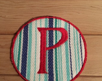 Stripe Iron-On Monogram, Embroidery Letter P