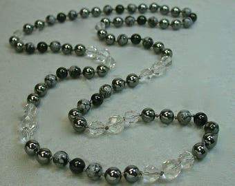 Vintage Crystal Bead Knotted Necklace,Vintage Snowflake Obsidian,Vintage Hematite, Vintage Black Onyx - GIFT WRAPPED