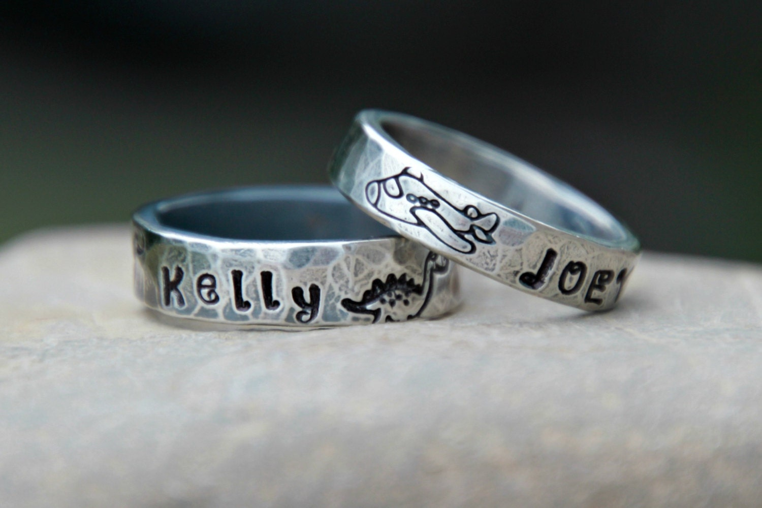 Hand Stamped Ring for Little Boys WEDDING BAND Hand