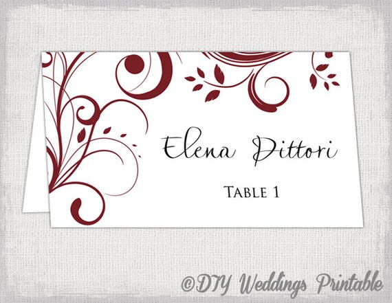 Place card template burgundy berry scroll place card template burgundy berry scroll printable name cards diy wedding escort cards dark red you edit word jpg instant download junglespirit Images