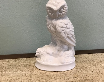 Vintage White Ceramic Owl Figurine