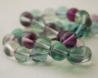 "High Quality Grade AAA Natural Rainbow Fluorite Semi-Precious Gemstone Round Beads - 8mm - 15"" strand"