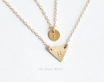 Dainty Necklace Layered Necklace set of 2, Minimalist Necklace Gold Necklace Double Strand Initial Necklace, Gold Initial Layering Necklace