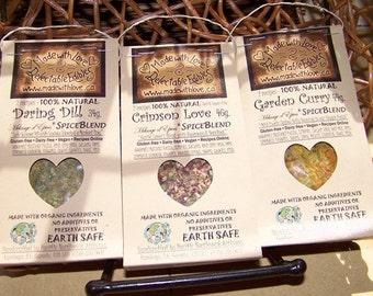 Trio of Artisan Gourmet Spice Blends - Birthday Gift Set  -  Gift under 25 - Dairy-Free Gluten-Free Vegan - Food - Herbs & Spices - Dip Mix