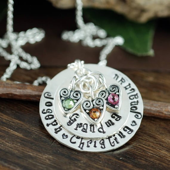 Personalized Grandma Necklace, Engraved Necklace, Grandmother Birthstone Necklace, Grandma Heart Necklace, Gift for Grandma, Christmas Gift