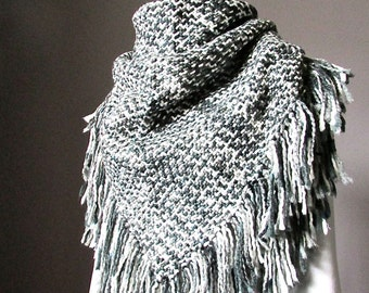 NEXT DAY SHIPPING Chunky Knit Blanket Winter Scarf Oversized Triangle shawl wrap with fringe wool blend women accessories