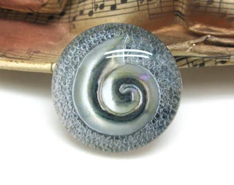 2 cabochons glass spiral Silver silver 14 mm - 14 mm