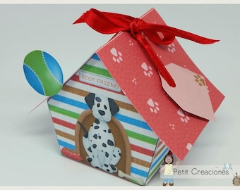 "PRINTABLE GIFT box ""Dog house"" DIY, treat box, place holder, gift idea for party"