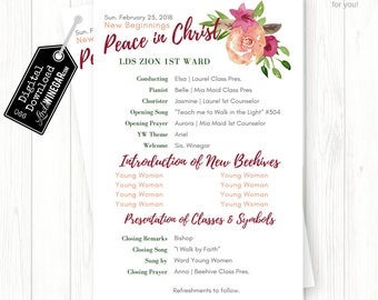 Young Women New Beginnings Program, Peace in Christ 2018 Mutual Theme, Whimsical Watercolor | Personalized Digital Download 8.5x5.5 JPG