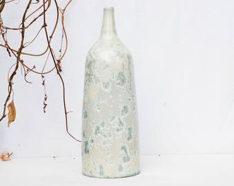 White crystalline pottery bottle, pottery  home decor, crystalline stoneware vase, white crystal ceramic vase, white crystal pottery bottle.