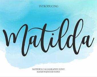 Calligraphy Font Handwritten Script Wedding Watercolor Instant Download - Matilda Font