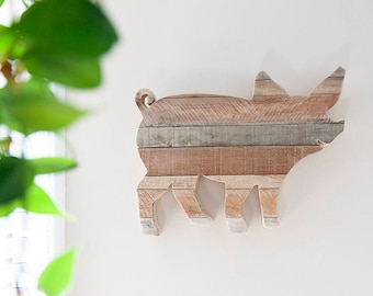 Farmhouse Decor, Rustic Home Decor, Pig Decor, Kitchen Wall Decor, Farmhouse, Kitchen Decor, Vegan, Reclaimed Wood, Country Decor