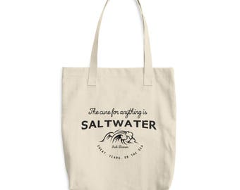 Inspirational Quote - The Cure For Anything is Saltwater - Canvas Tote Bag - Beach Tote Bag - Market Bag - Shopping Bag - Book Bag