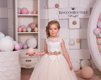 Pink and White Flower Girl Dresses
