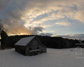 Early Winter Sunset with Barn, Western Massachusetts