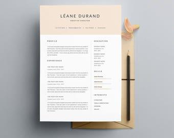 """Modèle de CV 4 Pages """"LÉANE"""" avec lettre de motivation   moderne   Pour Ms Word   Guide d'utilisation Français + Anglais   Professionnel  """