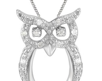 Jewel Zone US Natural Diamond Owl Pendant Necklace 14k Gold Over Sterling Silver (1/10 Ct)