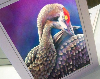greeting card print of original art - crane clean