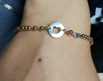 Ball bracelet Gold filled 2.5 mm with sterling silver between parts/gift for you/handmade/single piece/bicolor/Valentine