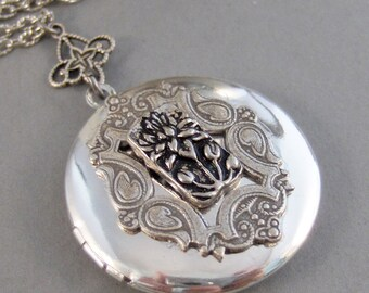 Lotus Blossom,Necklace,Locket,Silver Locket,Antique Locket,Lotus,Karma,Yoga,Lotus Necklace,Flower,Yoga Necklace, Jewelry ValleyGirlDesigns.