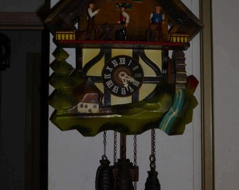 Vintage 1970's Classic wood chopper , Musical Cuckoo clock with water wheel 1-Day