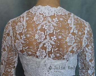 Bridal shrug bridal cover up wedding shrug lace bolero jacket bridal bolero white long sleeve bolero shrug for bride evening bolero shrug