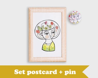 SET, flower girl postcard and brooch