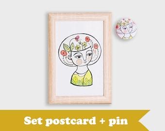 Postcard set, thank you postcards, brooch & postcard, portrait postcard, gift for mom, flower girl postcard, set brooch, postcard set bundle