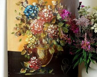 Large vintage oil painting on canvas, flowers, still life