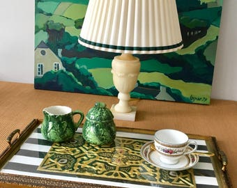 Vintage Urn Shaped Alabaster Table Lamp, Ivory with Green Veining, Rewired