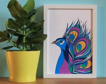 Peacock Print, Peacock Feather, Bird, Screenprint, Gold, Art Deco, A4 Screenprint, Home Decor, Print, Silkscreen, Colourful Print, Gift Idea