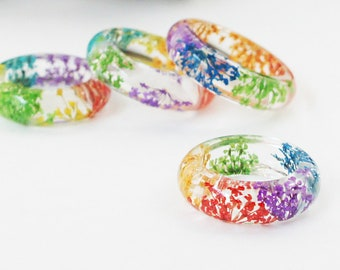 Pride ring, Rainbow Flower Resin Ring, Real Flower Ring, Pressed Lace Flower Jewelry, Dried Flower, Terrarium Jewelry, Floral jewelry