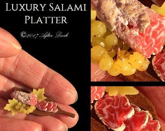 Gourmet Salami & Grape Platter - Artisan Handmade Miniature in 12th scale After Dark miniatures.
