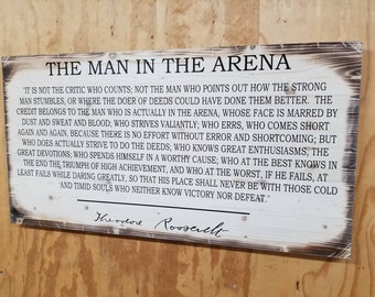 """Wooden Rustic-Style """"Man in the Arena"""" Sign (20""""x38"""")"""
