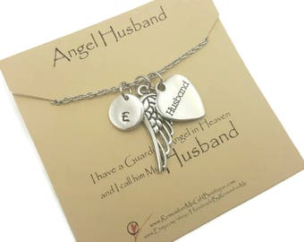 Memorial Necklace in Remembrance of Husband, Loss of Husband Sympathy Gift, Bereavement Gift, Memorial Gift, Memorial Jewelry Personalized