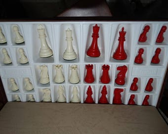 Vintage Gallant Knight Chess Set, Red & White Game Pieces, Chess Board Game, Chessmen of Champions